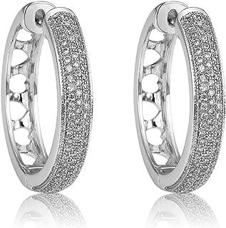 18K Gold Plated Brass Cubic Zirconia Hoop Earrings Love Heart Hollow Richapex