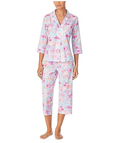 LAUREN Ralph Lauren Classic Wovens 3/4 Sleeve Notch Collar Capri Pants Pajama Set (Multi Floral) Women