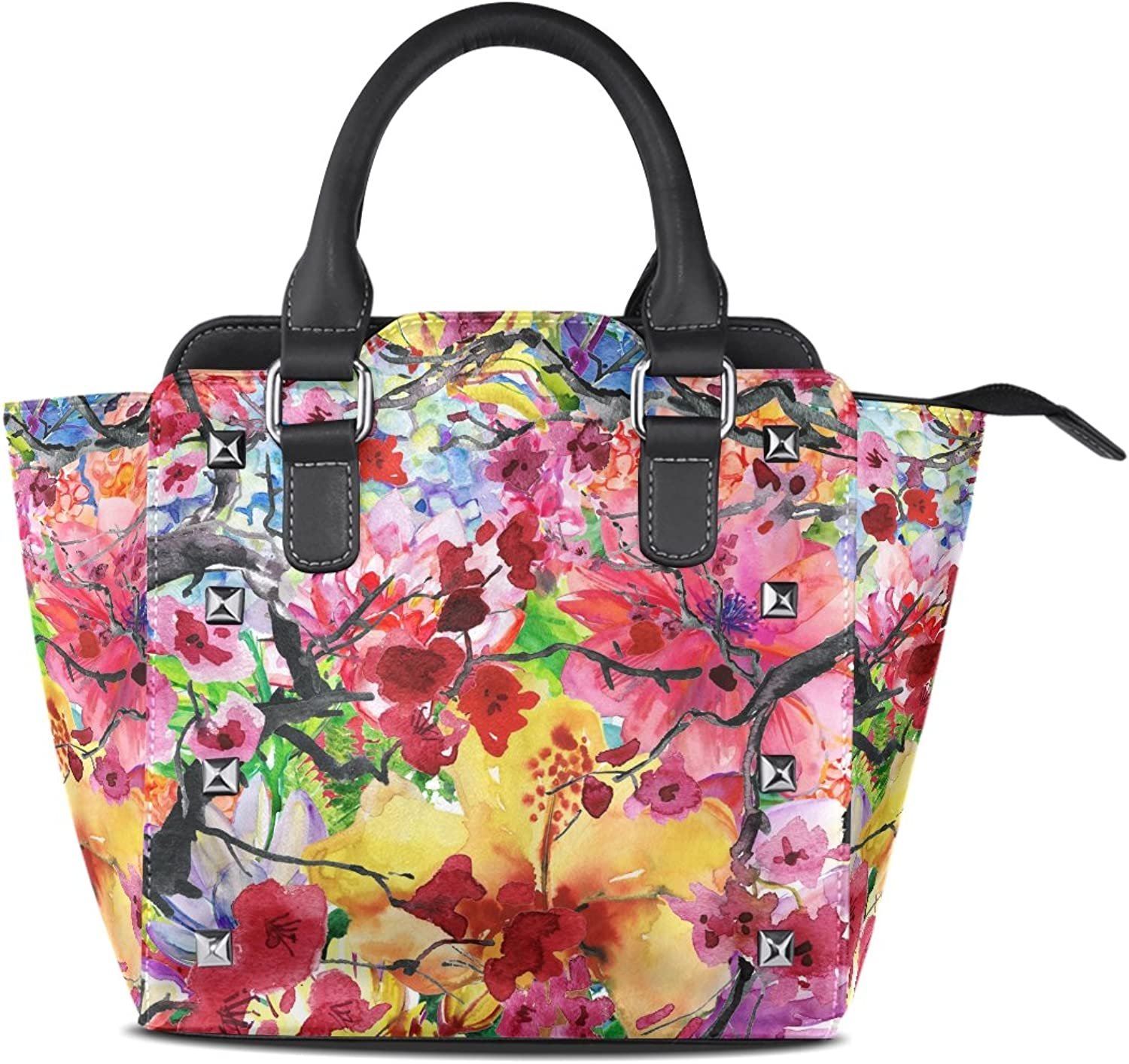 My Little Nest Women's Top Handle Satchel Handbag Beautiful Watercolor Flowers Ladies PU Leather Shoulder Bag Crossbody Bag