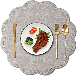 Kreatur Round Waterproof Placemats for Dining Table Set of 6 Beige,Modern PU Washable Table Mats Non-Slip Easy to Clean for Home Kitchen Decor