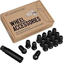 16pcs Black Spline ATV Lug Nuts - 3/8x24 Thread Size - 1.4 inch Length - Closed End - Cone Acorn Taper Seat - Includes 1 Socket Key Tool - Compatible with many Polaris Sportsman RZR Ranger Kawasaki