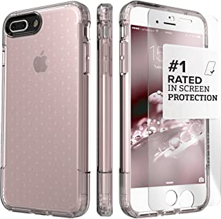 iPhone 8 Plus and 7 Plus Case, SaharaCase Inspire Protective Kit Bundled with [ZeroDamage Tempered Glass Screen Protector] Rugged Slim Fit Shockproof Bumper [Hard PC Back] Protection - Rose Gold Clear
