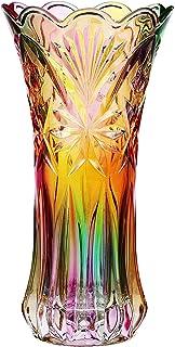 WINOMO Blomma vas kristall glas vas regnbåge dekorativ växt behållare kruka jul höst jul middag bord mittstycke dekor till...