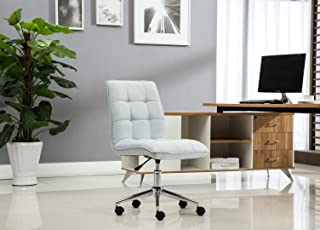 Porthos Home Leanne Task Chair with Height Adjustment, 360° Swivel, Steel Base and Tufted Polyester Upholstery (Armless Design for Small Homes and Offices), One Size, Gray