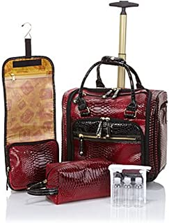 Samantha Brown Embossed Ombre Underseater Luggage with Accessories ~Burgundy/Black