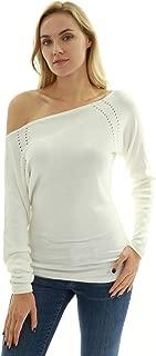 PattyBoutik Women One Shoulder Eyelet Knit Sweater
