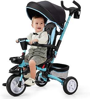 COSTWAY 6-in-1 Kinderdreirad mit verstellbarem & abnehmbarem Dach, Sicherheitsgurt, Kinder Dreirad mit Schubstange, Klapppedal und Aufbewahrungstasche für Kinder im Alter von 12-50 Monaten Blau