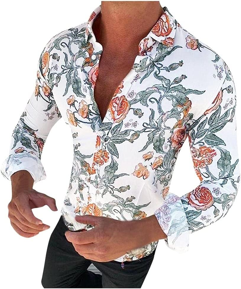 Ranking TOP18 SPNEC Men's Floral Shirt Long Casual F Sleeve Ranking TOP6 Rose Fashion