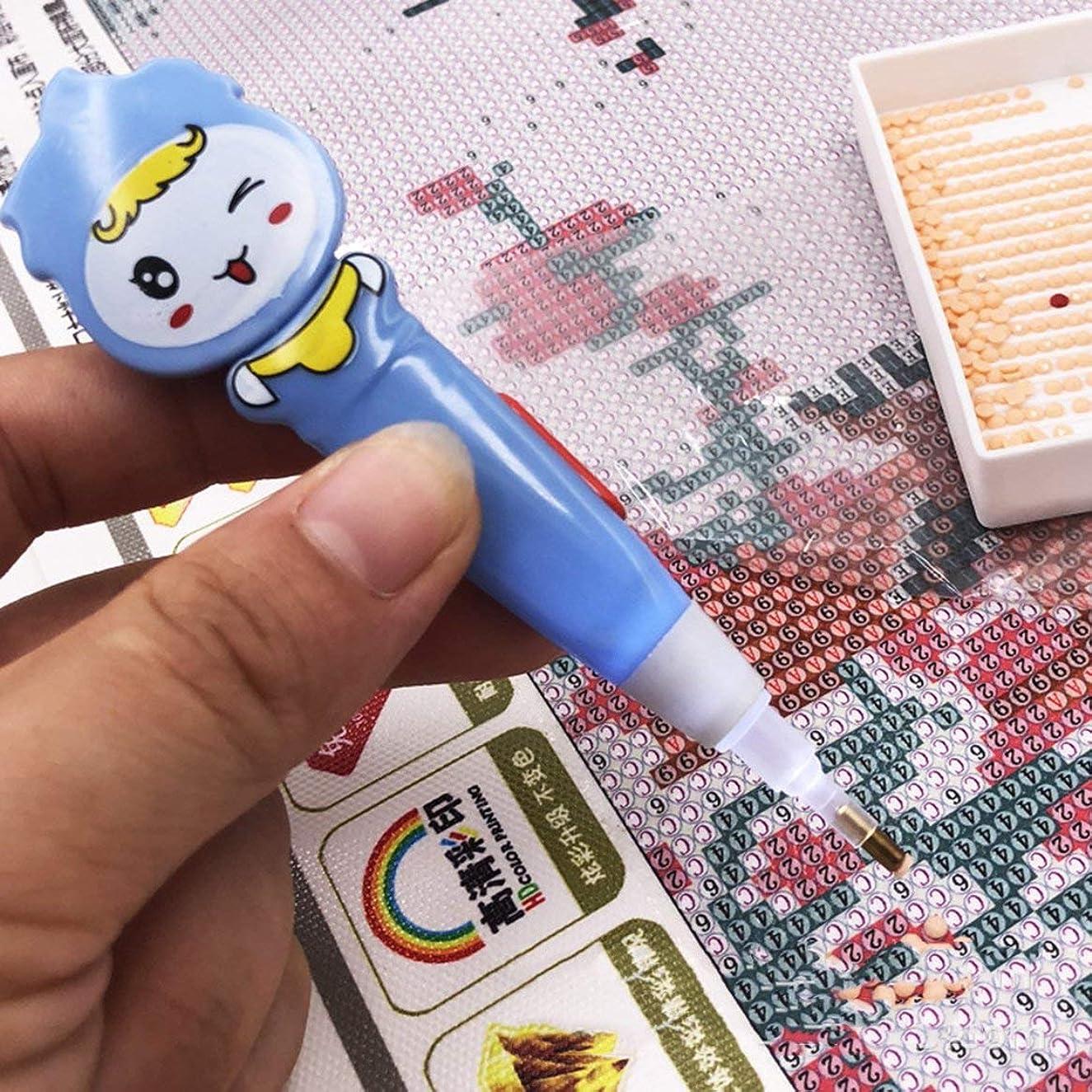 れんが首アリーナポータブルサイズ5DダイヤモンドペインティングポイントペンスーパーブライトLEDライトラインストーン刺繍ツールドリルライト付きペン(ブルー)