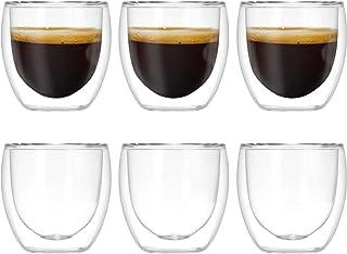 Dubbelväggig värmehållande termiska kaffeglaskoppar med dubbla väggar starkt glasset för varma och kalla drycker, vin, kaf...