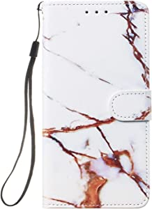 Reevermap Samsung Galaxy 2018 Case  Flip Protective Leather Wallet Card Holder Phone Cover for Samsung Galaxy 2018 with Magnetic Buckle Build-in Kickstand  White  amp  Brown Marble