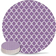 4 Pieces Drink Coasters Absorbent Stone Coaster Set, Traditional Quatrefoil Lattice Pattern Purple White Ceramic Coasters with Cork Backing Round Cup Mat Pad for Home and Kitchen