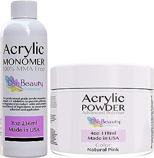 Natural Pink - 4oz Nail Powder and 8oz Monomer for doing Acrylic Nails at Home. Professional grade acrylic nail powder, for nail tips, & overlays.