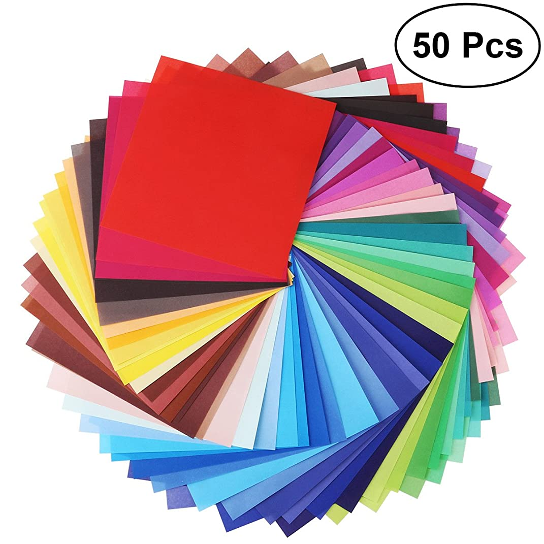 OUNONA 50 Sheets Vivid Colors Single Sided Origami Paper Square Sheet for Arts and Crafts Projects 20 × 20cm
