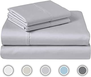 COZERI 600 Thread Count Luxury Sheet Set, 100% Pure Cotton, Breathable, Soft & Silky Sateen Weave, Fits Mattress Upto 17