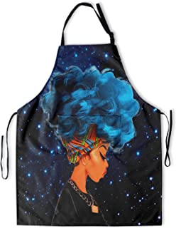 Granbey Black Girl Apron with Pockets African Woman Anti-Oil Bib African Girls Aprons with Adjustable Neck Straps Blue Hai...