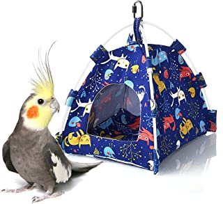Keersi Winter Warm Bird Nest House Bed Hut Hanging Hammock Toy for Parakeet Cockatiel Cockatoo Conure Lovebird Budgie African Grey Amazon Macaw Eclectus Medium Large Parrot Cage Perch Stand