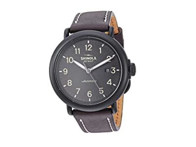 Shinola Detroit 45 mm Runwell Automatic (Black/Kodiak Leather Strap) Watches