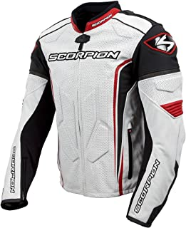 Scorpion Clutch - NEW 2015 Leather Motorcycle Jacket - White/Red - XL