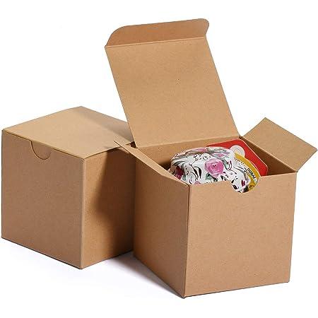 HERCHR 50pcs bo/îtes-Cadeaux Marron bo/îte en Papier Kraft avec couvercles Petites bo/îtes en Carton pour No/ël//Mariage Marron