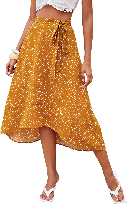 Milumia Women Polka Dots High Waist Midi Skirt Asymmetrical Hem Belted A Line Skirt