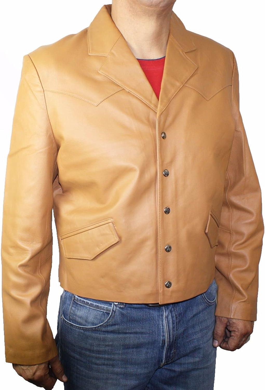 Mens Western Style Fashion Jacket Genuine soft Leather-Snaps Closure_Camel