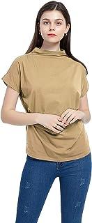 BBYES Women's Mock Neck Sleeveless Top Tanks Turtleneck Blouse Plain Shirt