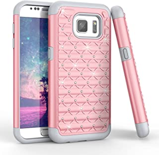 TILL for S7 Case, Galaxy S7 Case, (TM) Studded Rhinestone Crystal Bling Shock Absorbing Hybrid Defender Rugged Slim Case Cover for Samsung Galaxy S7 S VII G930 GS7 5.1 Inch [Rose Gold]
