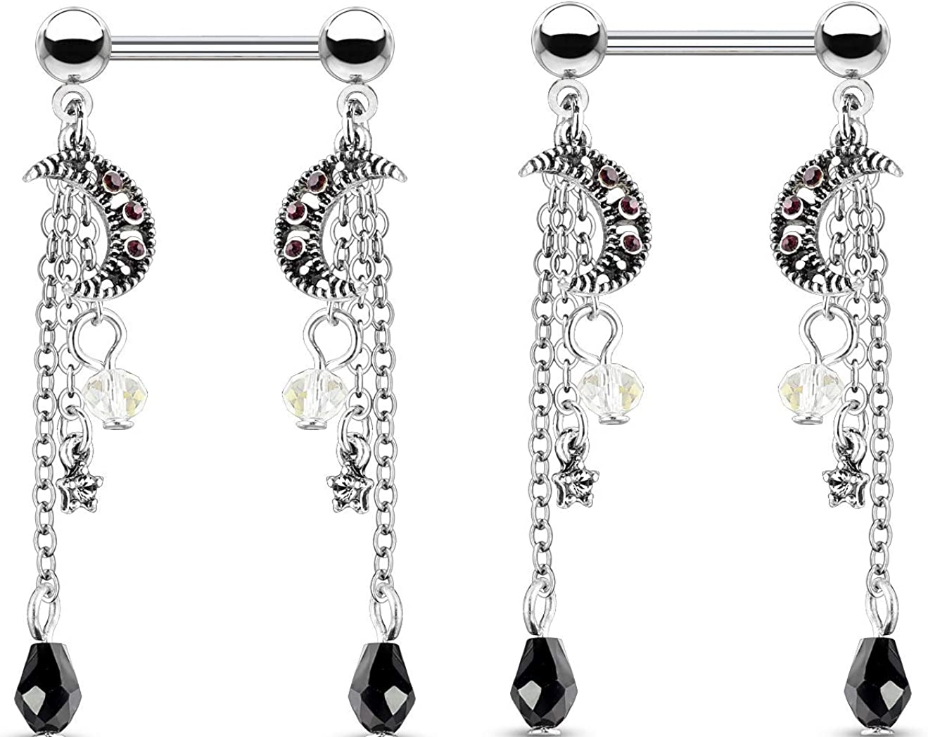 Body Accentz CZ Crystal Star and Moon Chain Bead Dangle Nipple Barbells, Sold as a Pair