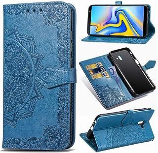 comprar comparacion YKTO Funda para Samsung Galaxy J6 Plus Artificial Suave Cuero Cierre Magnético Cover Soporte Plegable Flip Billetera Prote...