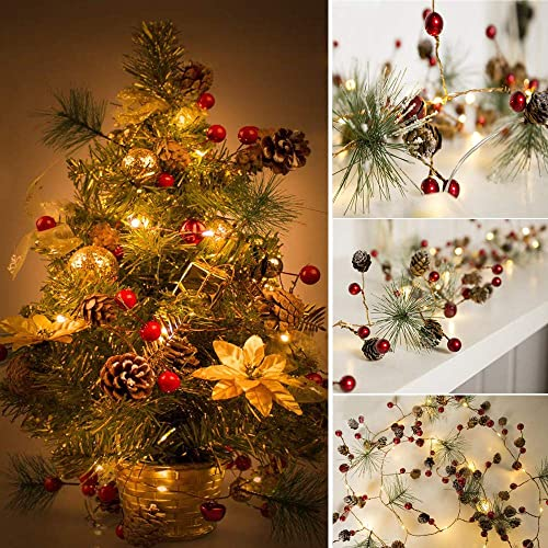 new arrival 6.5Ft Christmas Pine Cone Light String, Christmas String Light with lowest Pinecone Bell Berry Decorations, LED new arrival String Light Garland, Xmas Party Bedroom Tree Table Decor,Battery Powered (Red Berry Garland) online