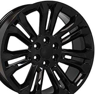 OE Wheels 22 Inch Fit Chevy Silverado Tahoe GMC Sierra Yukon Cadillac Escalade CV43 Black 22x9 Rims Hollander 5666 SET