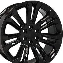 OE Wheels 22 Inch Fit Chevy Silverado Tahoe GMC Sierra Yukon Cadillac Escalade CV43 Black 22x9 Rims Hollander 5666 SET