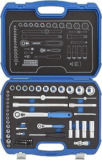 """GEDORE Zestaw kluczy nasadowych sześciokątnych 1/4"""" + 1/2"""" w wytrzymałej walizce z tworzywa sztucznego, 69-częściowy, z dw..."""