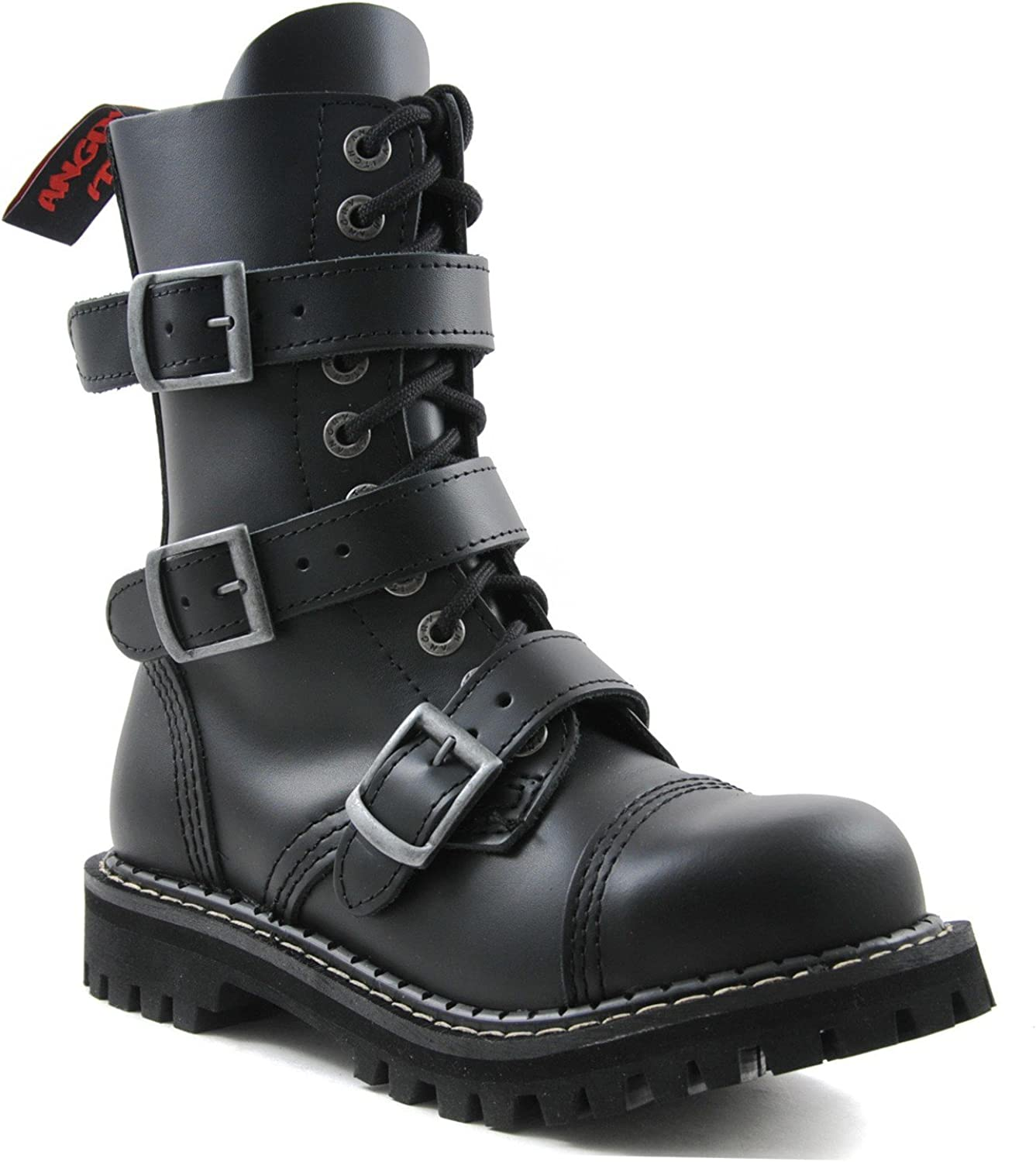 Angry Itch Combat Boots Black Leather Unisex Ladies Men's 3 Buckles Military Army Punk Steel Toe Ranger Punk