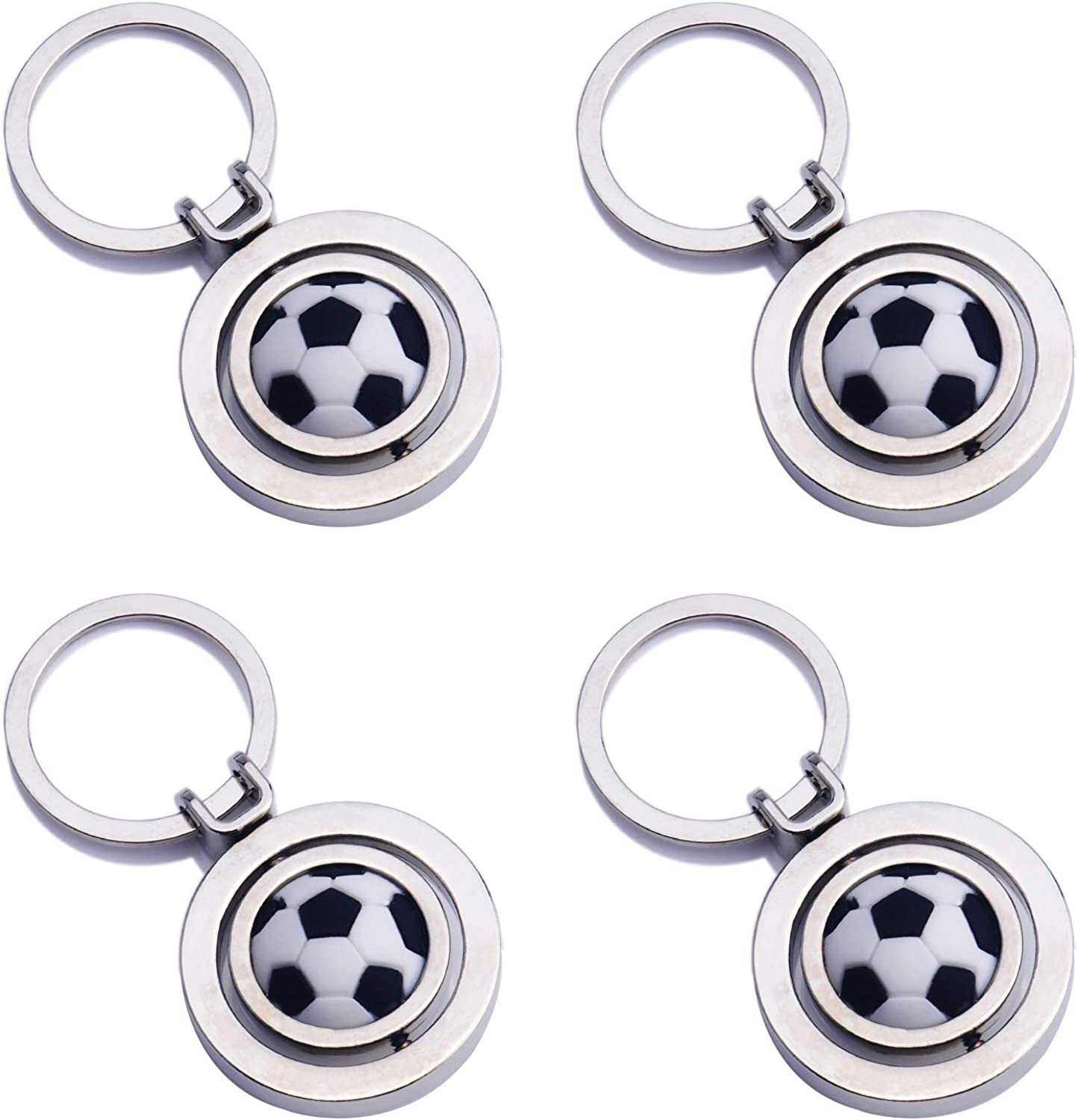 4 Pcs Stainless Steel Keychains, 3D Sports Keychains for Sport Theme Party and Birthday Party