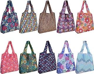 10 Pack Reusable Grocery Shopping Bags, SZUAH Foldable Shopping Bags Grocery Tote with Attached Pouch,Machine Washable Eco-Friendly.