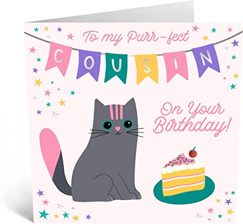 Cute Birthday Cards for Her - 'To My Purrfect Cousin