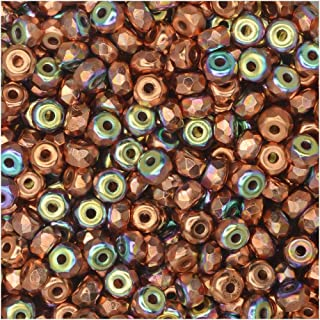 True2 Czech Fire Polished Glass, Faceted Micro Spacer Beads 2x3mm, 100 Pieces, Copper Plated AB