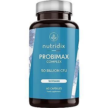 Probiotici Probimax Fermenti Lattici 50 miliardi di CFU per dose - 10 ceppi naturali per la flora e le difese intestinali - 60 capsule Nutridix