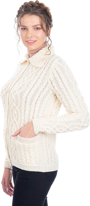 SAOL Irish Cardigan Sweater for Women Aran Max 74% OFF Merino Milwaukee Mall 100% Celt Wool