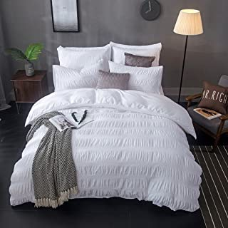 Lausonhouse Seersucker Duvet Cover Set, 100% Cotton Woven Seersucker Stripe Duvet Cover with 2 Pillowshams,3 Pieces Bedding Set - King - White