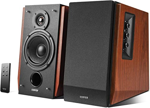 Edifier R1700BT Bluetooth Bookshelf Speakers - Active Near-Field Studio Monitors - Powered Speakers 2.0 Setup Wooden ...