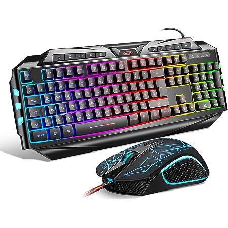 Teclado para Juegos y ratón Combo Rainbow Backlit Gaming Teclado 7 Colores respiración retroiluminado ratón USB con Cable para Juegos Teclado Conjunto ...