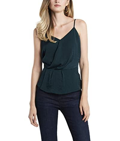 1.STATE Spaghetti Strap Cross Front Rumple Cami (Green Forest) Women