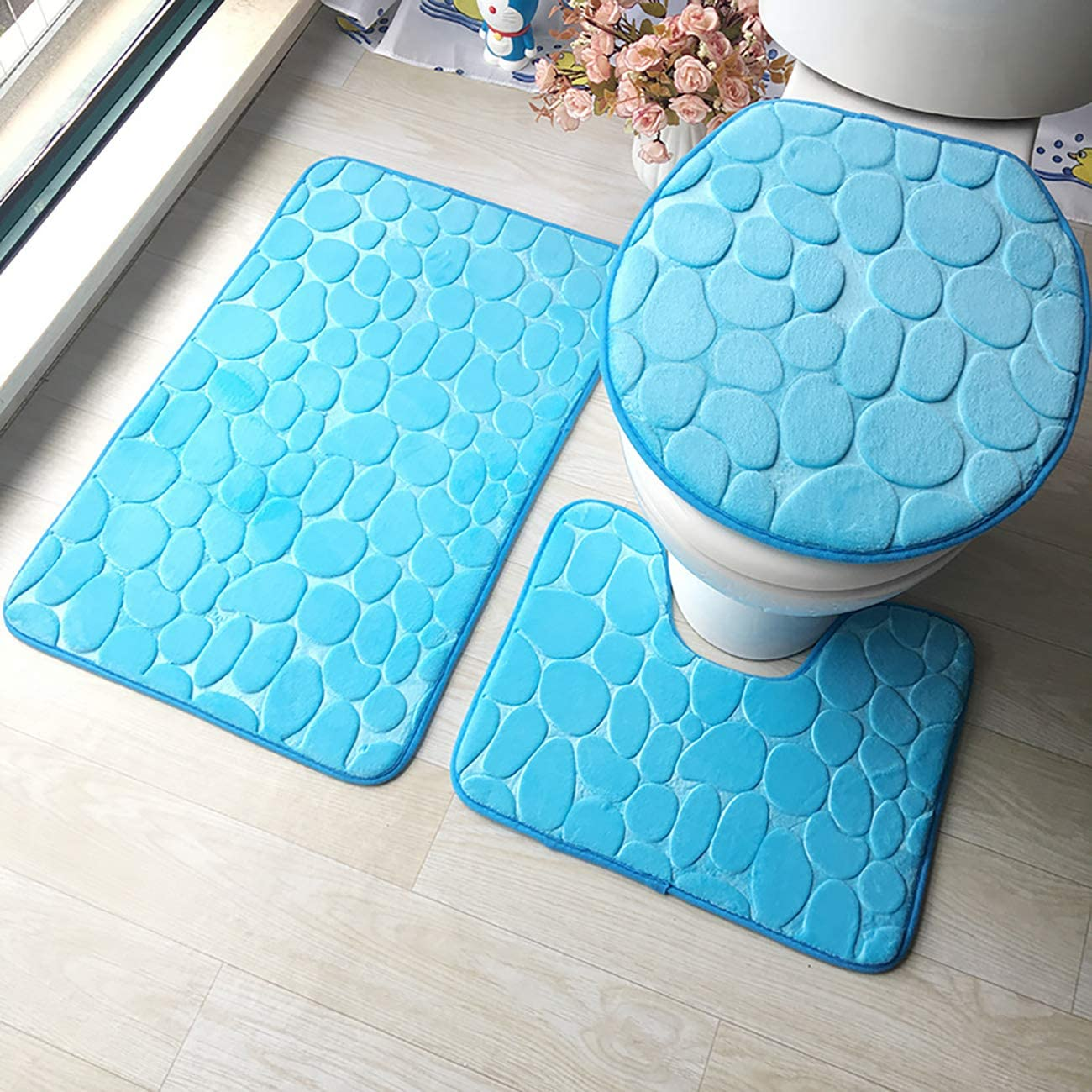 Picturesque Flannel Time sale Embossed Bathroom Mat 3pcs Toilet Lid Cover 4 years warranty