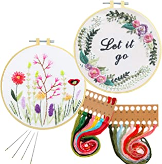 Nuberlic 2 Pack Embroidery Kits Beginner Cross Stitch Kit for Adults Kids Embroidery with Patterned Cloth Hoops Thread Needles