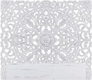 Menzzo Tête de Lit 160 cm en Bois Sculpté   Moderne et Originale   Couleur Blanche   Moulures Florales pour Habiller votre...