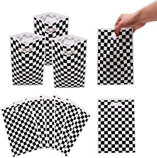 30 Packs Black and White Checkered Racecar Themed Gift Bags Birthday Party Favors Party Supplies for Kids Race Car Theme P...