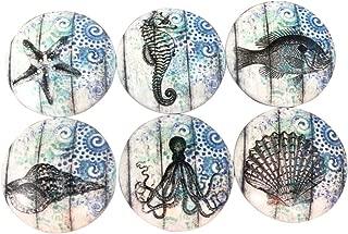 Set of 6 Blue Nautical Print Wood Cabinet Knobs